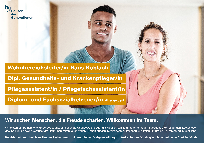 Pflegejobs Häuser der Generationen Götzis Koblach Vorarlberg